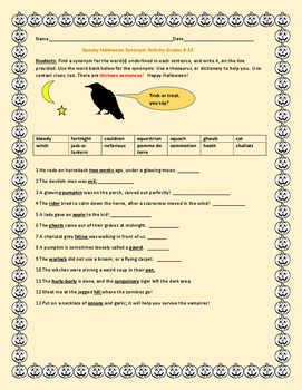 SPOOKY HALLOWEEN SYNONYM ACTIVITY, GRADES 8-12, MG