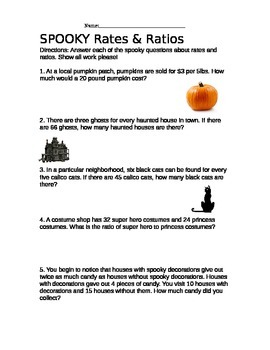 SPOOKY Rates and Ratios - Halloween Theme Word Problems