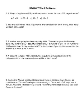 SPOOKY word problems! Number Sense Halloween Themed Math Problems