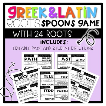 SPOONS Game with Greek and Latin Roots - Engaging Roots Game