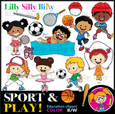 SPORT & Play - B/W & Color clipart {Lilly Silly Billy}