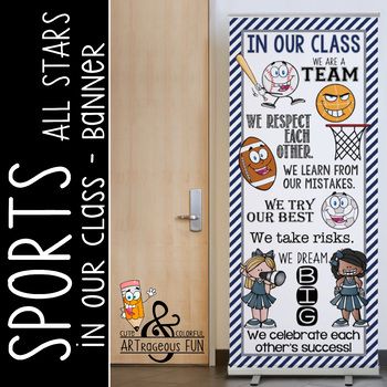 SPORTS ALL STARS - Class Decor: LARGE BANNER, In Our Class / gray - navy