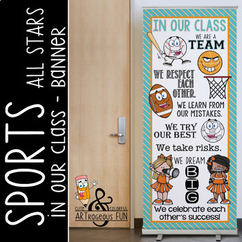 SPORTS ALL STARS - Class Decor: LARGE BANNER, In Our Class / orange turquoise