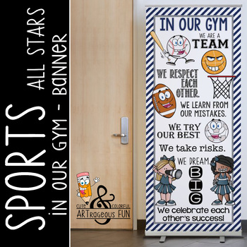 SPORTS ALL STARS - Class Decor: LARGE BANNER, In Our GYM / gray - navy