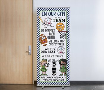 SPORTS ALL STARS - Class Decor: LARGE BANNER, In Our GYM / green - navy