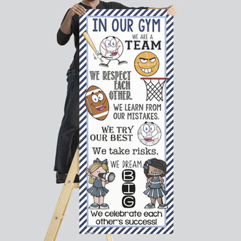 SPORTS ALL STARS - Class Decor: LARGE BANNER, In Our GYM / light blue - navy
