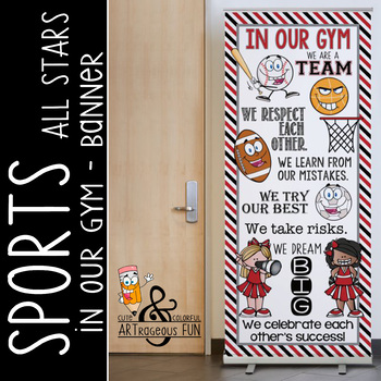 SPORTS ALL STARS - Class Decor: LARGE BANNER, In Our GYM / red - black