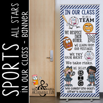 SPORTS ALL STARS - Classroom Decor: LARGE BANNER, In this School / navy lt. blue