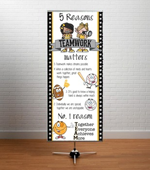 SPORTS ALL STARS - Classroom Decor: LARGE BANNER, TEAM / yellow black