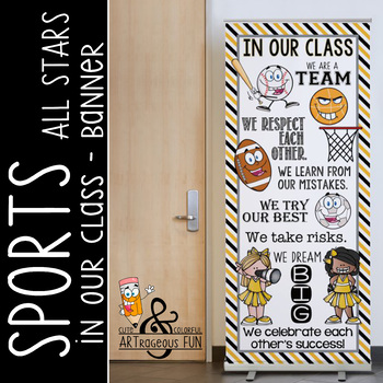 SPORTS ALL STARS - Classroom Decor: LARGE BANNER, In Our Class / yellow black