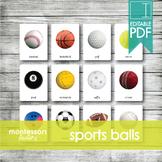 SPORTS BALLS • Montessori Cards • Flash Cards • Three Part Cards