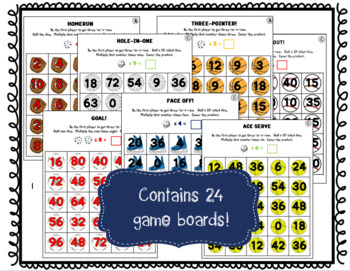 SPORTS BUNDLE:  No-Prep Fact Fluency Games for One-Digit Multiplication