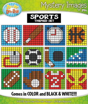 SPORTS Mystery Images Clipart {Zip-A-Dee-Doo-Dah Designs}