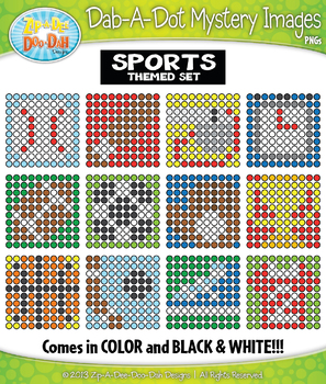 SPORTS Dab-A-Dot Mystery Images Clipart {Zip-A-Dee-Doo-Dah Designs}