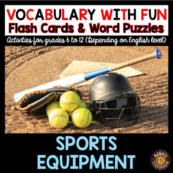 SPORTS EQUIPMENT Vocabulary Words: Flash Cards and Word Puzzles