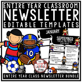 Sports Theme Classroom Decor: Monthly & Weekly Newsletter Template Editable