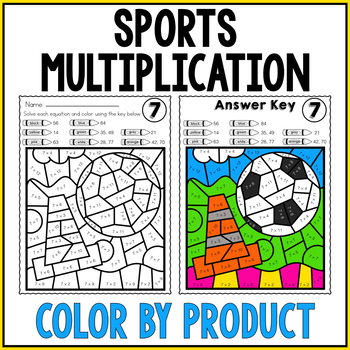 SPORTS Color by Number MULTIPLICATION REIVEW Facts 6, 7, 8, 9, 12