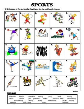 SPORTS - PICTIONARY (MATCH PICTURES WITH WORDS) by Agamat ...
