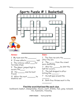 SPORTS WORDS  PUZZLES  CROSSWORDS  Early Finishers  Vocabulary  Gr 4-5-6