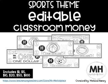 SPORTS THEME - Classroom Money - EDITABLE