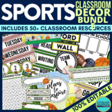 SPORTS THEME Classroom Decor EDITABLE Clutter-Free Classro