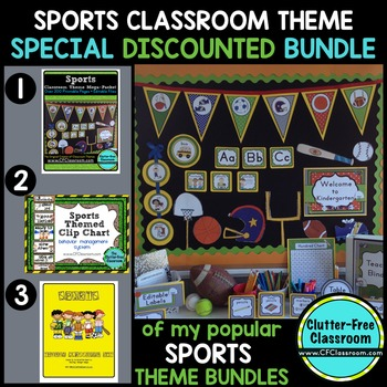 SPORTS THEME Classroom Decor - 3 EDITABLE Clutter-Free Cla