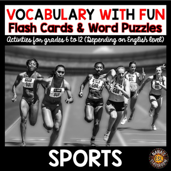 Sports 5 Word Puzzles and Photo Flash Cards BUNDLE
