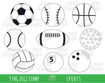 SPORTS clipart, sports balls, BLACK AND WHITE, soccer, basketball, golf