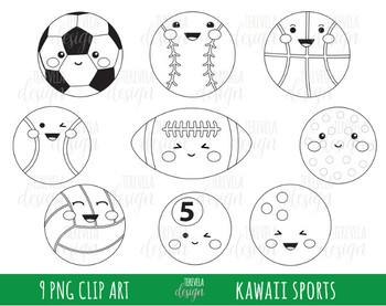 SPORTS clipart, sports balls, kawaii clipart, BLACK AND WHITE