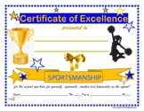 SPORTSMANSHIP AWARD!  Cheer Coach Cheerleading Certificate-All Ages! Blue & Gold