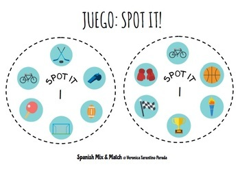 SPOT IT PAIR GAME TO PRACTICE SPORTS VOCABULARY IN SPANISH