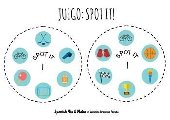 JUEGO DOBBLE / SPOT-IT: VOCABULARIO DE LOS DEPORTES / SPORTS VOCABULARY