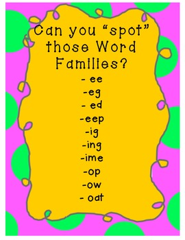 "USE AT HOME! SPOT the 2-3 letter ""Word Families!"" Gr K-1 by Miss Creativity"