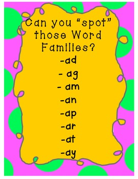 "SPOT the ""Word Families!"" Gr K-1 (2 letter word families all start with -a)"