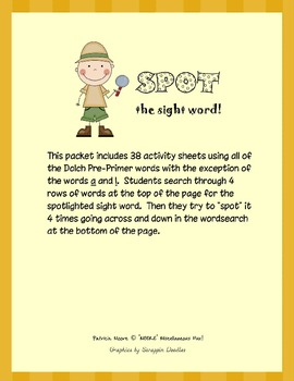 """""""SPOT"""" the sight word!  Dolch Pre-Primer"""