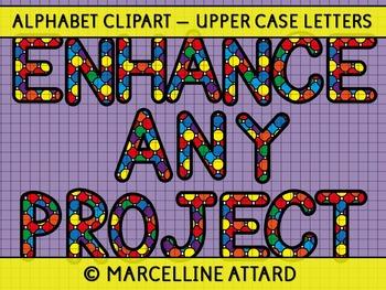 SPOTTY ALPHABET CLIPART: UPPERCASE LETTERS CLIPART: RAINBOW ALPHABET CLIPART