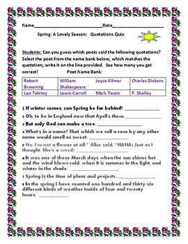 SPRING: A LOVELY SEASON: A QUOTATIONS QUIZ ACTIVITY