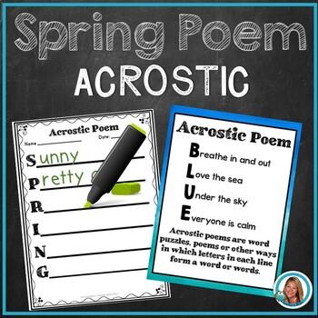 SPRING ACROSTIC POEM - FREE - by Teacher's Brain