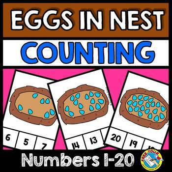 SPRING ACTIVITIES (KINDERGARTEN COUNTING CENTER 1-20) EGGS IN NEST
