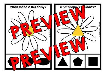 SPRING ACTIVITIES KINDERGARTEN (DAISY SHAPES RECOGNITION CLIP CARDS)