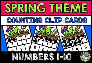 SPRING ACTIVITIES (TEN FRAMES CLIP CARDS) PRE K SPRING 10