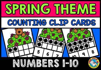 SPRING ACTIVITIES (TEN FRAMES CLIP CARDS) PRE K SPRING BEAR 10 FRAMES CENTER
