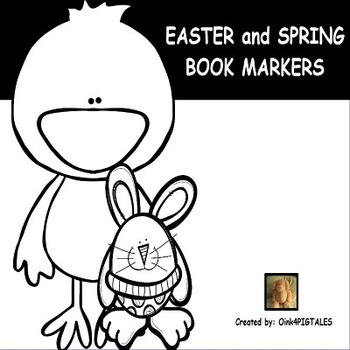 Spring and Easter Black and White Book Markers.