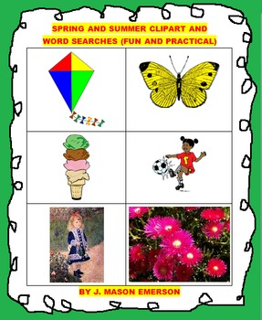 SPRING AND SUMMER CLIP ART &  WORD SEARCHES (FUN, ENG, SPANISH, FRENCH)