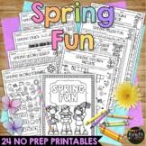 SPRING Activities Packet NO PREP Fun Math and Literacy