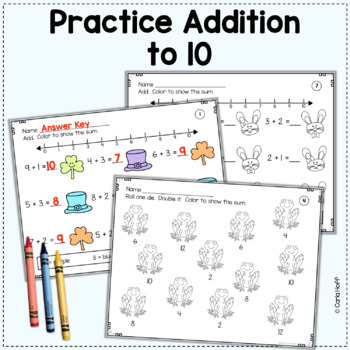 SPRING Addition & Subtraction Worksheets (Add! Subtract! Color! Within 10)