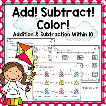 SPRING:  Add! Subtract! Color!  Addition & Subtraction to