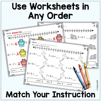 SPRING Addition and Subtraction Within 20  Worksheets with Number Lines