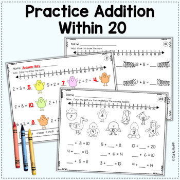 spring addition and subtraction within 20 worksheets with number lines. Black Bedroom Furniture Sets. Home Design Ideas