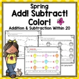 SPRING Addition and Subtraction Within 20  - Worksheets with Number Lines